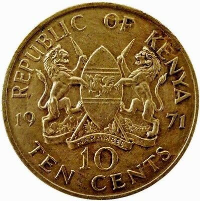 1971 Kenya 10 Cents Actual Photos Shown Lot#K3168