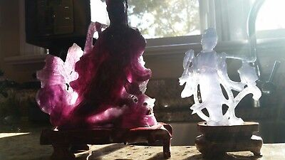 Antique Chinese Jade or Amethyst Statue Lot