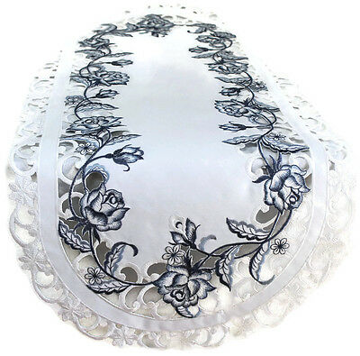 Doily Boutique Table Runner, Doily, Mantel Scarf with Blue Roses on White Fabric