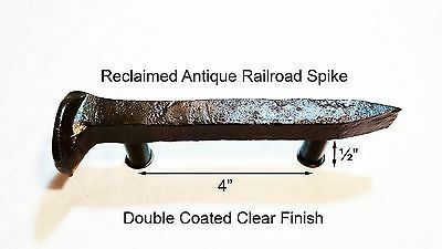 "4"" Left Sealed Railroad Spike Dresser Drawer Cabinet Handle Antique Vintage"