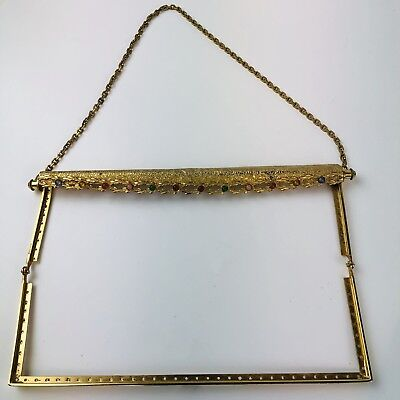 Antique Brass Petit  Purse frame, 13 Stones , elegant Made in France