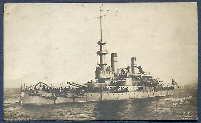 1907 USS OREGON on RPPC: Mailed from Minneapolis to San Diego