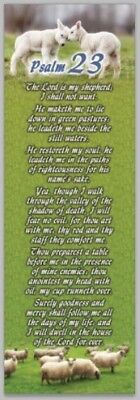 "Laminated Psalm 23 Bible Bookmarks 2""x6"" Pk of 5 KJV Christian VBS Church"