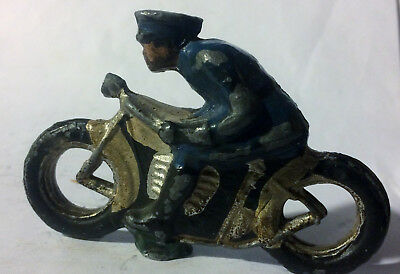 Rare Vintage Antique Cast Iron Police Officer Motorcycle Toy
