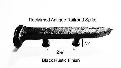"2-1/2"" Left Black Railroad Spike Dresser Drawer Cabinet Handle Antique Vintage"