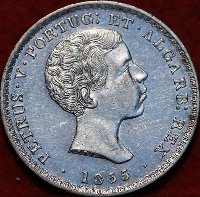 1855 Portugal 500 Reis Silver Foreign Coin