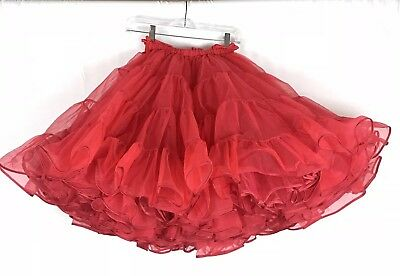 Vintage Crinoline Petticoat Square Dancing Partners Please Malco Modes Sz M Red