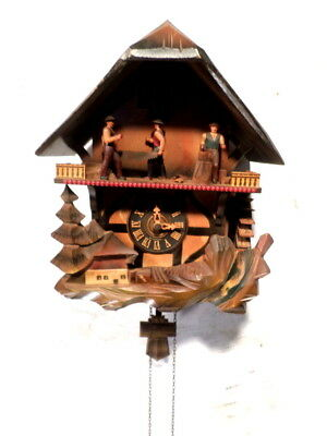 Colorful Musical Animated Chalet Cuckoo Clock For Parts Or Restoration