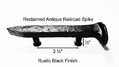 "3-1/4"" Right Black Railroad Spike Dresser Drawer Cabinet Handle Antique Vintage"
