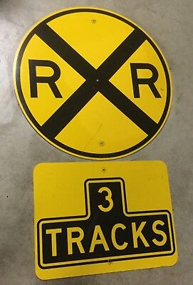 Vintage LOT OF 2 SIGNS Metal Round Train Railroad Crossing Street Sign 3 TRACKS