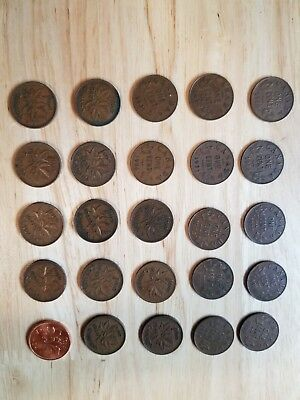 Old Canada Coin Lot 1920-1965 Various Years 25 Small Canadian Cents Penny Cent