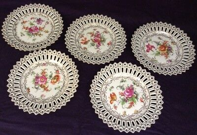 """5 Vintage 7"""" Reticulated Floral Plates  C S Bavaria Dresden Flowers"""