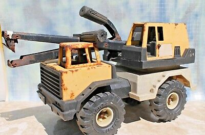 """Vintage TONKA toy Super Back Hoe Loader combo Truck, Yellow 16"""" FREE SHIPPING!"""