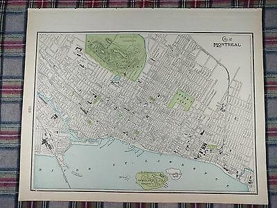 "Vintage 1901 MONTREAL CANADA Map 14""x11"" Old Antique HAMPSTEAD KIRKLAND MAPZ"