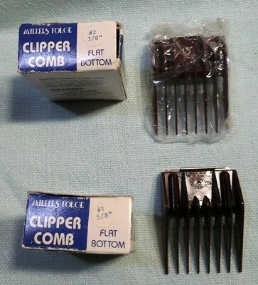 """2 Millers Forge Clipper Combs #1 5/8"""" Flat Bottom And #2 3/8"""" Flat Bottom"""