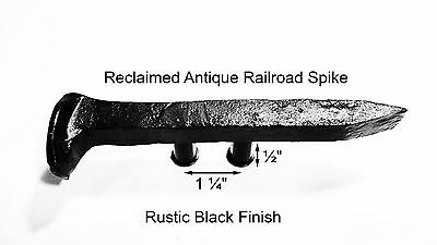 "1-1/4"" Left Black Railroad Spike Dresser Drawer Cabinet Handle Antique Vintage"