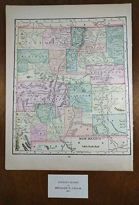 Vintage 1902 NEW MEXICO TERRITORY Map Old Antique Historical SANTA FE MAPZ