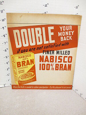 NABISCO 1940s grocery store display sign 100% BRAN cereal box constipation X