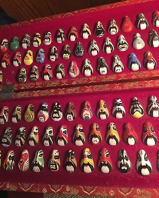 Vintage Set of 99 Chinese Opera Masks Hand-painted Ceramic in box