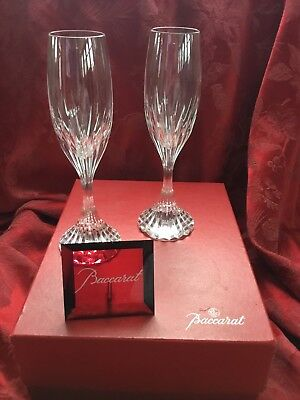 MIB FLAWLESS Exquisite BACCARAT France Two MASSENA Crystal CHAMPAGNE FLUTES WINE