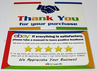 "100 eBay Seller Thank You Business Cards 5 Star Feedback Reminder Size 3.5"" x 2"""