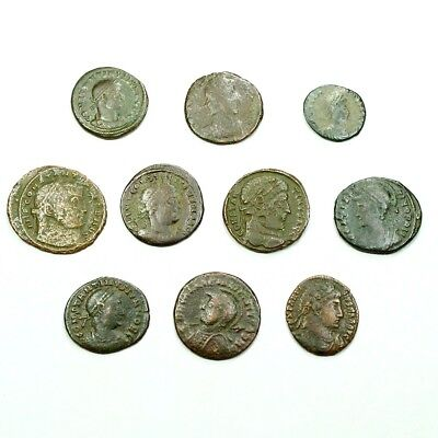 Ten (10) Nicer Ancient Roman Coins c. 100 - 375 A.D. Exact Lot Shown rm3626