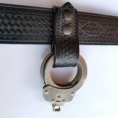 Basketweave Handcuffs Strap Holder, Fits 2 1/4'' Duty Belt (Black Snaps)