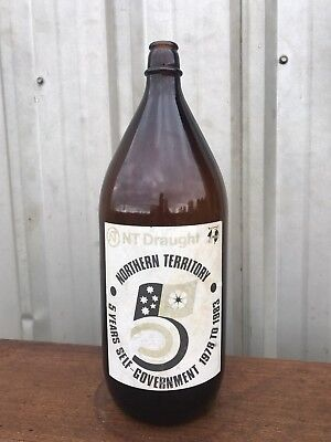 NT Draught DARWIN STUBBY Beer Bottle C.1983 BREWERY 2.25L COLLECTORS