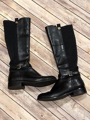 9d215241eac COLE HAAN GALINA Women Shoes Black Leather Knee High Boots Sz 9B ...