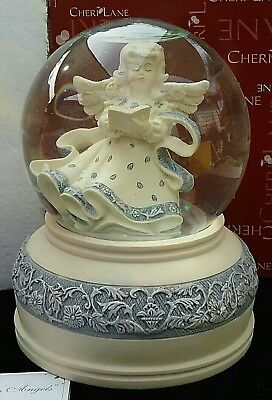 """Sara's Angels Angel With Book Musical Snow Globe New/boxed """"amazing Grace"""""""