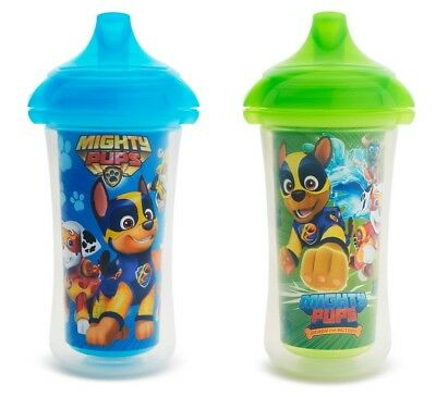Munchkin Paw Patrol Mighty Pups Insulated Sippy Cup, 9 Ounce, 2 Pack, Blue/Green
