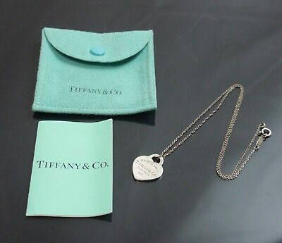 Authentic Tiffany & Co. Necklace Return to Heart Silver Sterling Silver #289
