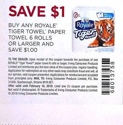 10 x $1 off on Royale Tiger Towel Paper Towel Canada Coupons