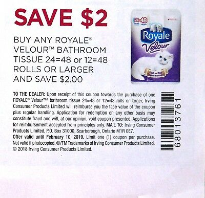 10 x $2 off on Royale Velour Bathroom Tissue Canada Coupons