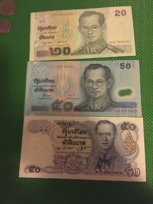 Lot Of 3 Thailand Baht Plus 3 Coins  UNC Bills Very Good Collectable Item