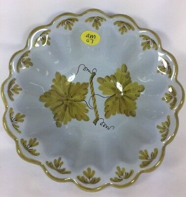 """AMM Vineyards Hand Painted Italian Pottery Scalloped Coupe Bowl Soup 6"""""""