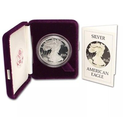 1986-S Proof 1oz American Silver Eagle Dollar In OGP With COA