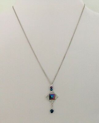 "17"" Silver Plated Chain with Hematite Beads & Square & Textured Square Pendant"