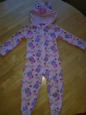 Girls Peppa Pig All In One Pyjamas Zip Up Age 18-24 Months