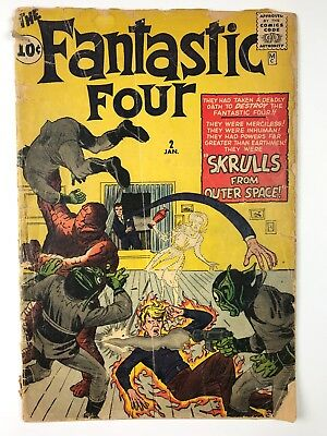 """Fantastic Four #2 - First """"Skrulls From Outer Space"""" - COOL! beat and incomplete"""