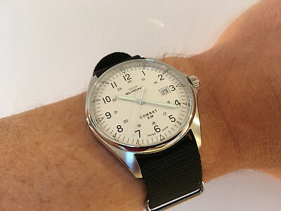 Glycine Combat 6 Vintage Automatic 43mm Watch - White Dial - GL0124 - Like New