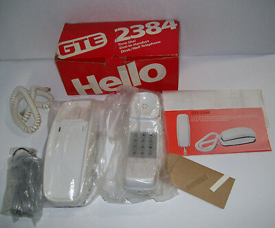Vintage GTE 2384 Desk / Wall Convertible Corded Telephone, WHITE IVORY