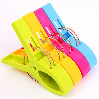 4Pcs Large Plastic Strong Beach Towel Clips Sunbed Peg Pool Pegs Random