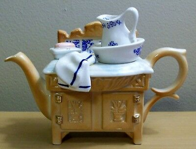 "Cardew Designs Old Willow Victorian Washstand Mini Tea Pot Teapot 4"" - England"