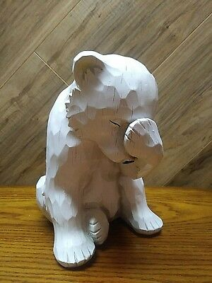 "Simply Adorable White Bear Cub Statue Figure Faux Wood Garden Decor  9.5"" tall"