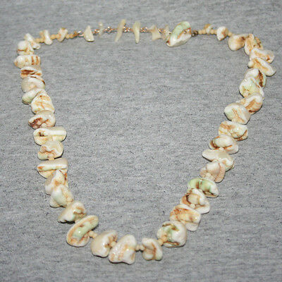 Vtg Handcrafted Japan Tumbled Genuine Mother Of Pearl Nugget Shell Necklace