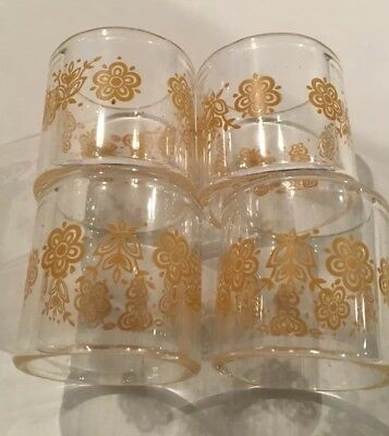 Vintage Glassware Pyrex Corelle Napkin Rings Butterfly Gold Set of 4