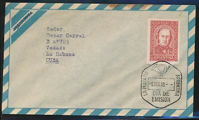 LJ64518 Argentina 1959 fine cover with nice cancels used