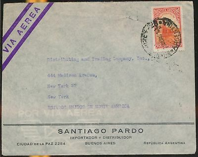 LJ64556 Argentina 1960s New York airmail cover used