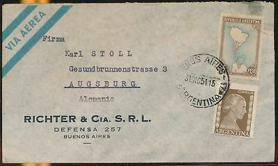 LJ64576 Argentina 1954 Germany airmail cover used